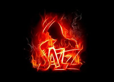 abstract, music, fire, jazz, flaming, black background - random desktop wallpaper