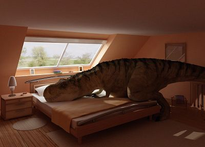 indoors, dinosaurs, beds, bedroom, Tyrannosaurus Rex - desktop wallpaper
