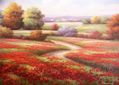 red, flowers, fields, paths, drawings, poppy - desktop wallpaper
