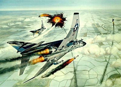 aircraft, missiles, artwork, F-4 Phantom II - desktop wallpaper