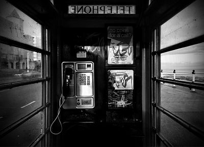 grayscale, phone booth - desktop wallpaper
