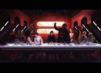 Star Wars, C3PO, Darth Maul, Darth Vader, Boba Fett, Luke Skywalker, The Last Supper, Han Solo, Chewbacca, Leia Organa, Yoda, Obi-Wan Kenobi, Mace Windu - random desktop wallpaper