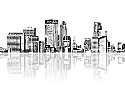 cityscapes, architecture, buildings, grayscale, skyscrapers, monochrome, artwork, reflections - related desktop wallpaper