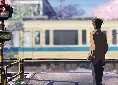 Makoto Shinkai, 5 Centimeters Per Second, railroad crossing - random desktop wallpaper