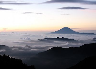 Japan, clouds, landscapes, nature, Mount Fuji, skies - desktop wallpaper