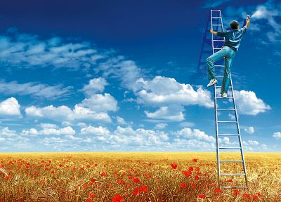 clouds, artwork, poppy, ladder, painters, skyscapes, poppies, blue skies - desktop wallpaper