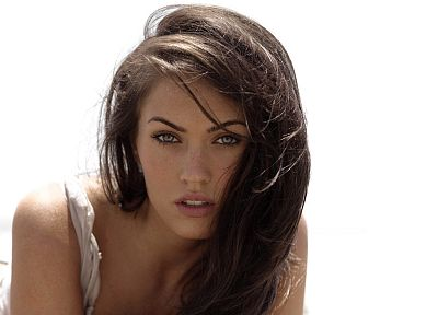brunettes, Megan Fox, actress, celebrity, simple background, white background - related desktop wallpaper