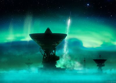 outer space, aurora borealis, rockets, satellite dish - desktop wallpaper