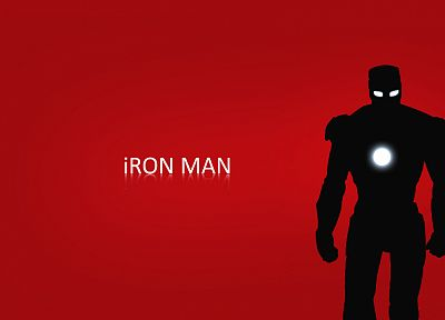 Iron Man, red, silhouettes, Marvel Comics - desktop wallpaper