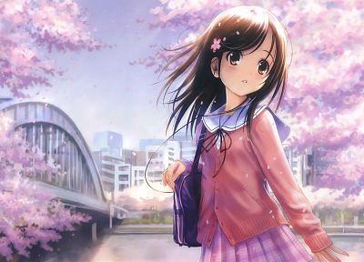 brunettes, cherry blossoms, school uniforms, long hair, outdoors, brown eyes, earphones, bags, anime girls, hair ornaments - related desktop wallpaper