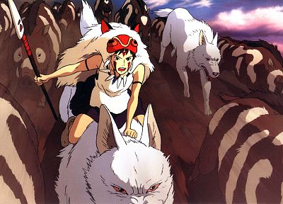 Princess Mononoke, wolves, boar, San (Princess Mononoke) - random desktop wallpaper