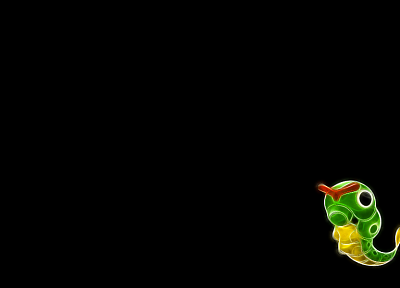 Pokemon, simple background, Caterpie, black background - desktop wallpaper