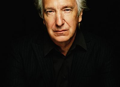 men, actors, Alan Rickman, black background, portraits - desktop wallpaper