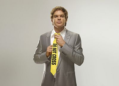 Dexter, tie, Michael C. Hall, simple background, Dexter Morgan, police tape - desktop wallpaper