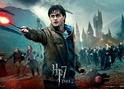 fantasy, movies, Harry Potter, magic, Harry Potter and the Deathly Hallows, Daniel Radcliffe, Hermione Granger, movie posters, Ron Weasley, Hogwarts, men with glasses - random desktop wallpaper