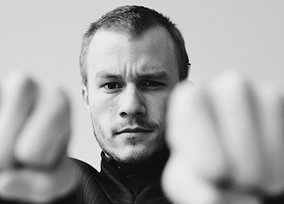 men, grayscale, Heath Ledger, actors - related desktop wallpaper