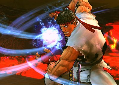 Ryu, Street Fighter IV, hadouken - random desktop wallpaper