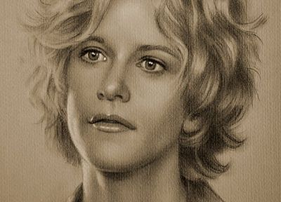 artistic, sketches, Meg Ryan, drawings - random desktop wallpaper