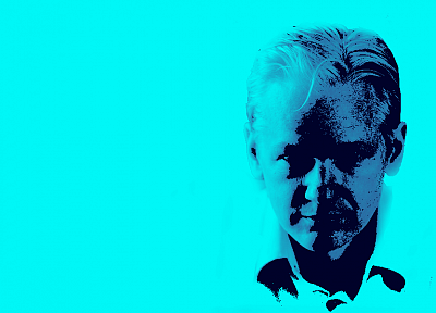 Julian Assange, simple background - random desktop wallpaper