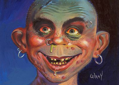 The Lord of the Rings, parody, Gollum, caricature, Mad magazine, Alfred E. Newman - random desktop wallpaper