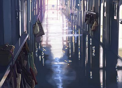 school, Makoto Shinkai, hallway, 5 Centimeters Per Second - random desktop wallpaper
