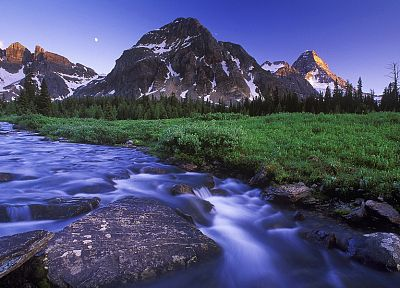 mountains, landscapes, grass, rivers - related desktop wallpaper