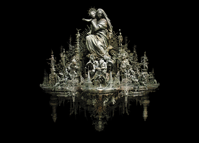 sculptures, Christianity, kris kuksi, black background, Magi - related desktop wallpaper