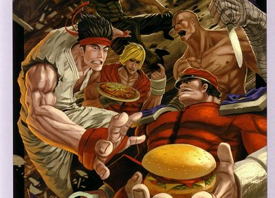 video games, Street Fighter, Ryu, Sagat, artbook, artwork, Vega, M. Bison, Guile, Ken Masters - related desktop wallpaper