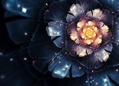 flowers, bloom, digital art, nucleus - popular desktop wallpaper