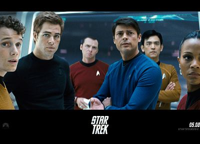 movies, Star Trek, James T. Kirk, Hikaru Sulu, Uhura, Leonard McCoy, Montgomery Scott, Pavel Chekov - related desktop wallpaper