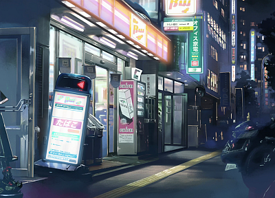 Japan, streets, Makoto Shinkai, 5 Centimeters Per Second, shop - desktop wallpaper