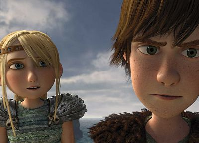 blondes, ocean, clouds, How to Train Your Dragon, Hiccup, astrid - newest desktop wallpaper
