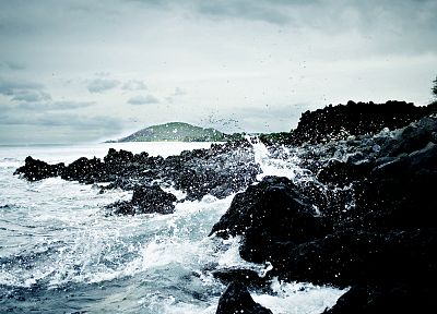 water, waves, rocks, stones, shore, ripples, splashes, sea - random desktop wallpaper