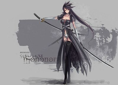 katana, long hair, weapons, thigh highs, artwork, anime girls, swords, black hair - related desktop wallpaper