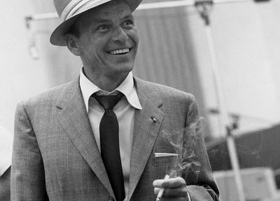 suit, men, celebrity, Frank Sinatra, grayscale, monochrome, cigarettes - random desktop wallpaper