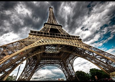 Eiffel Tower, Paris, clouds, architecture, France - random desktop wallpaper
