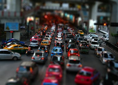 cars, traffic, tilt-shift - random desktop wallpaper