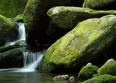 water, nature, rocks, moss, long exposure, waterfalls - related desktop wallpaper