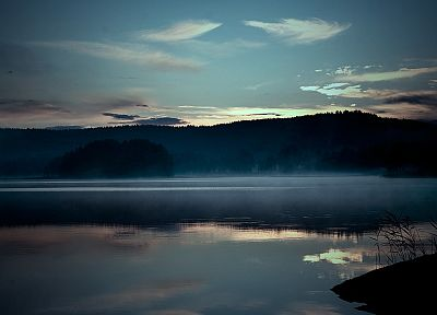 water, clouds, landscapes, nature, forests, lakes, dusk - related desktop wallpaper