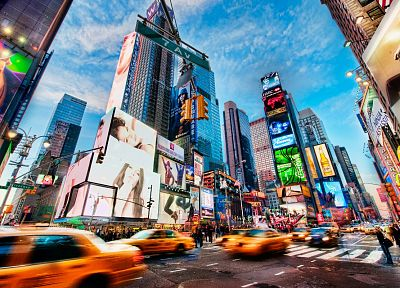 cityscapes, streets, New York City, Times Square, HDR photography - desktop wallpaper