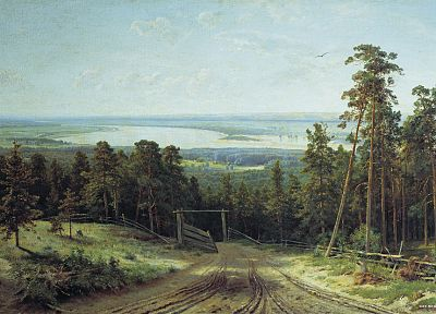 paintings, landscapes, trees, forests, artwork, Ivan Shishkin - related desktop wallpaper