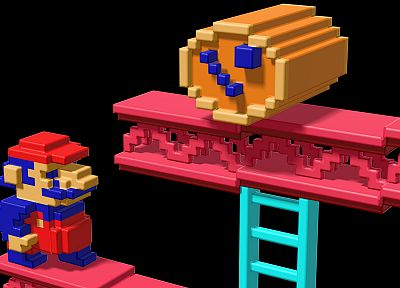 Nintendo, Mario, Super Mario, Donkey Kong, digital art, retro games, voxels - related desktop wallpaper