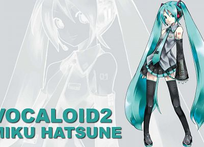 Vocaloid, Hatsune Miku, thigh highs, twintails, detached sleeves - desktop wallpaper