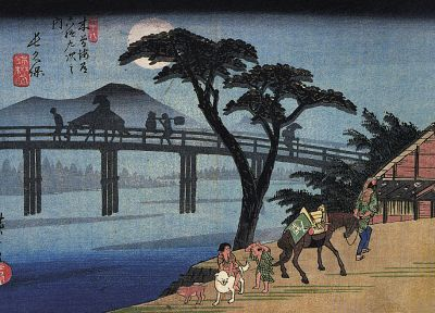 trees, Moon, Japanese, bridges, horses, artwork, Ukiyo-e, Hiroshige - related desktop wallpaper