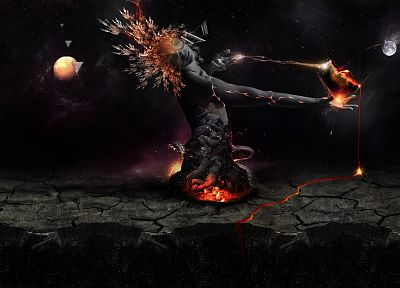 women, outer space, artistic, digital art, Red-Queen-hypothesis - random desktop wallpaper