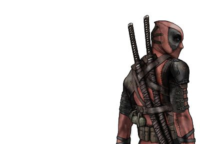 Deadpool Wade Wilson, Marvel Comics, white background - desktop wallpaper