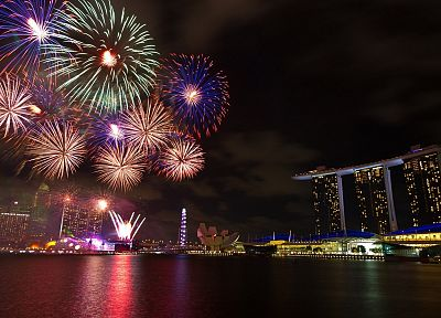cityscapes, fireworks, Marina Bay Sands - related desktop wallpaper