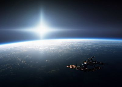 outer space, Earth, satellite - desktop wallpaper