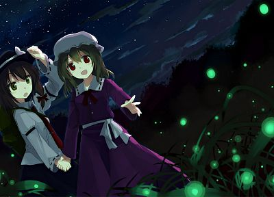 Touhou, hats, Maribel Han, Usami Renko, anime girls - desktop wallpaper