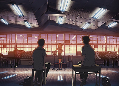 classroom, Makoto Shinkai, anime, The Place Promised in Our Early Days, violinist - related desktop wallpaper